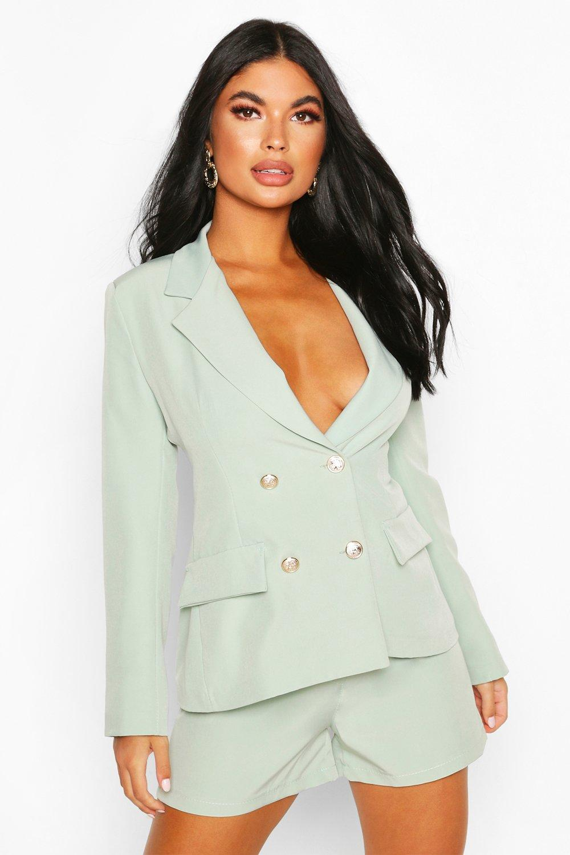 boohoo Womens Petite Double Breasted Blazer - Green - 12, Green
