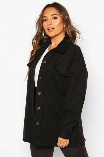 Black Petite Wool Look Belted Pocket Detail Jacket