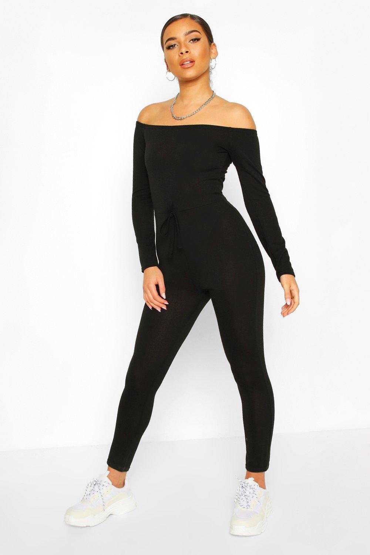 boohoo Womens Petite Bardot Casual Jumpsuit - Black - 14, Black
