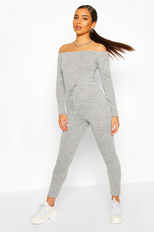 boohoo Womens Petite Bardot Casual Jumpsuit - Grey - 14, Grey
