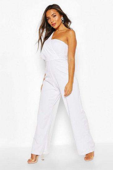 White Petite One Shoulder Drape Jumpsuit
