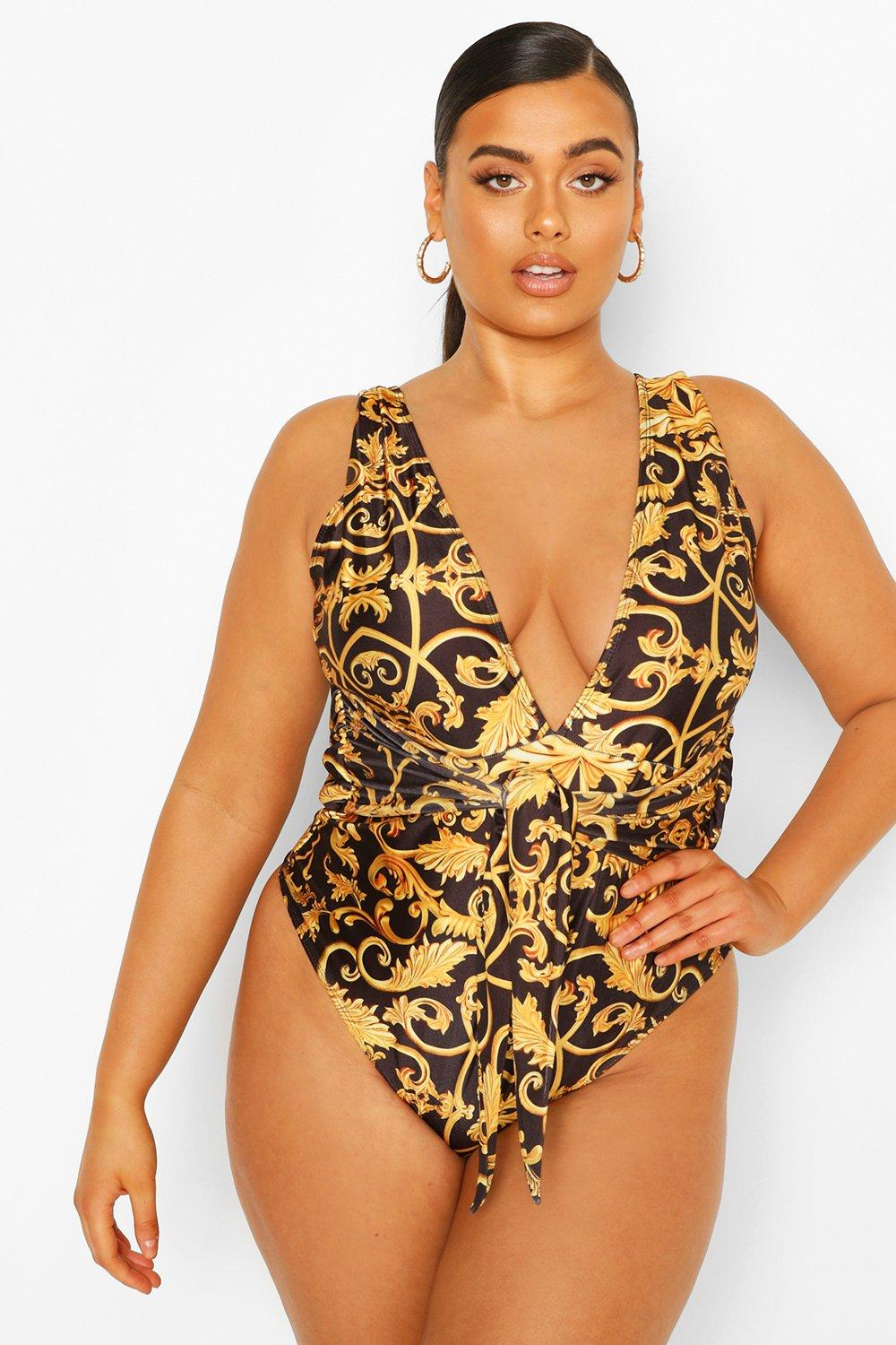 Womens Plus Chain Print Twist Front Bathing Suit - Black - 22