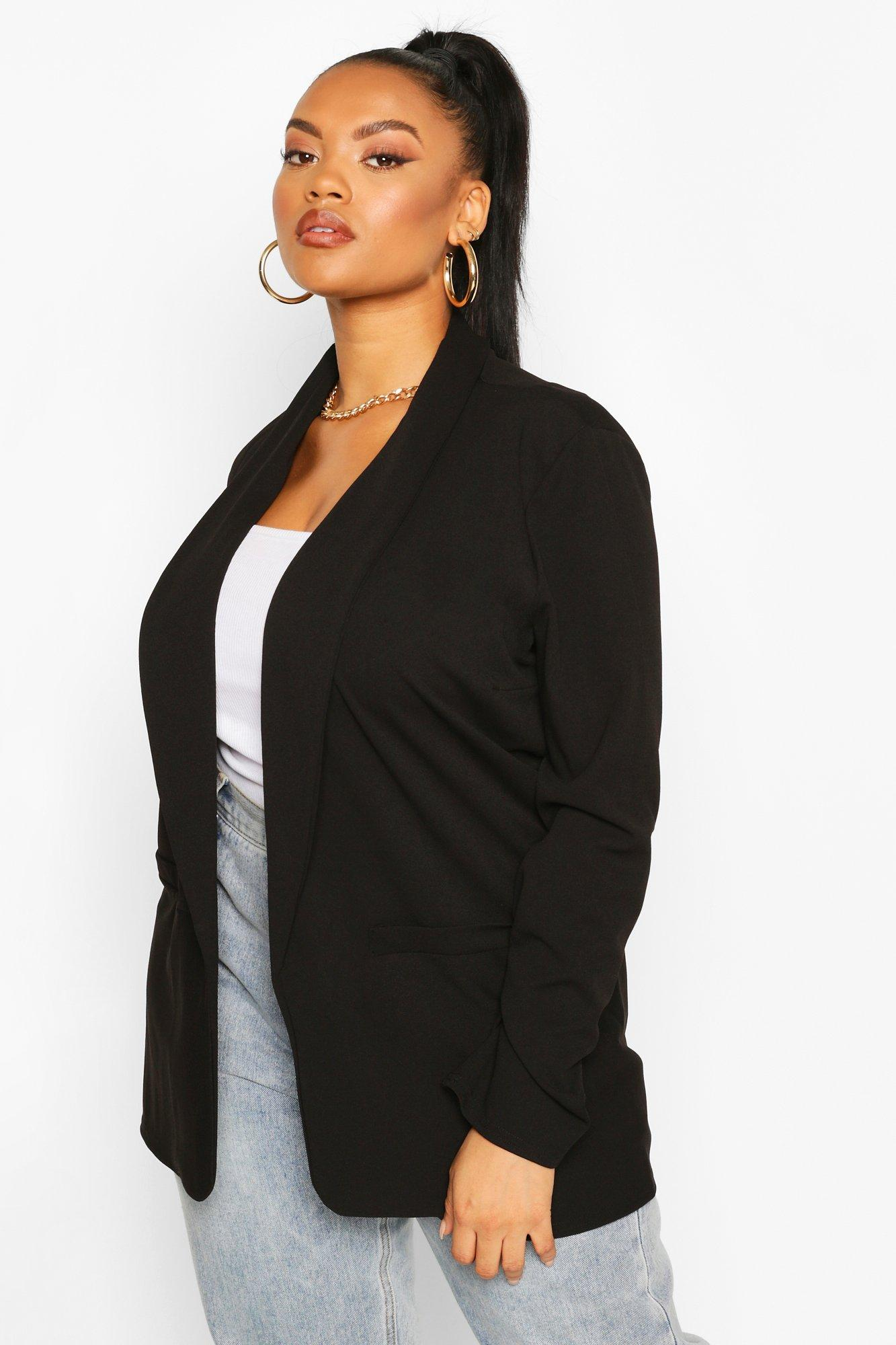 boohoo Womens Plus Lapel Ruched Cuff Blazer - Black - 18, Black