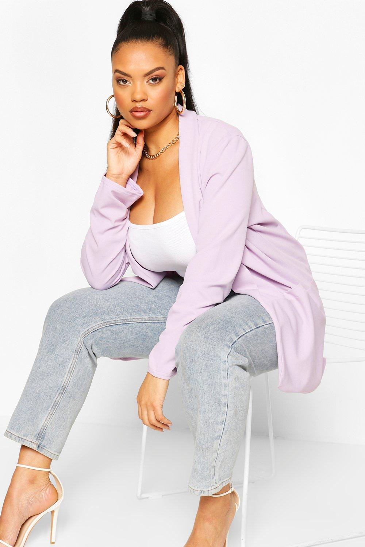 boohoo Womens Plus Lapel Ruched Cuff Blazer - Purple - 28, Purple