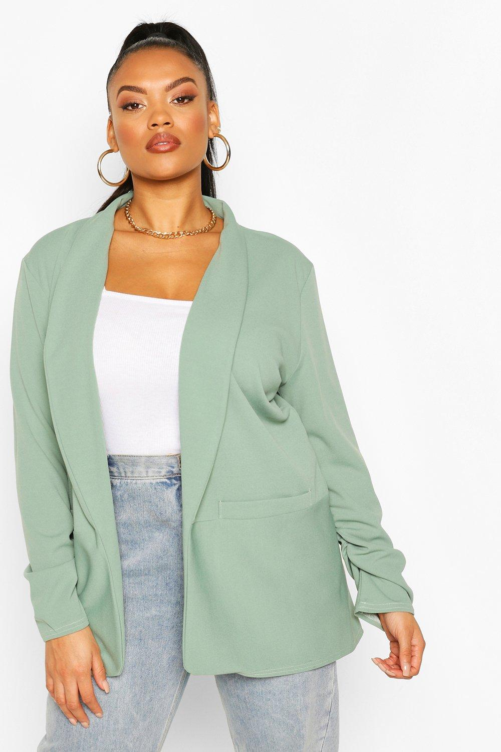 boohoo Womens Plus Lapel Ruched Cuff Blazer - Green - 26, Green