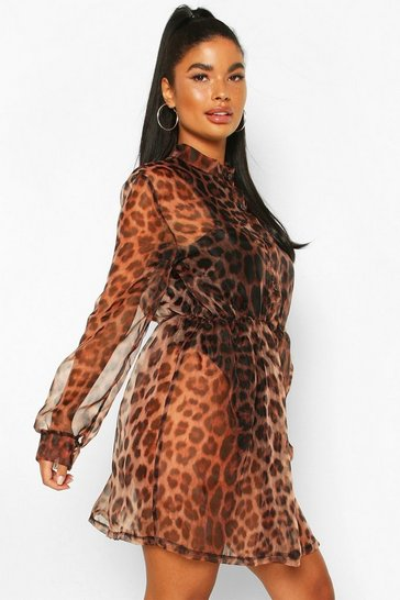 Brown Petite Leopard Print Organza Shirt Dress