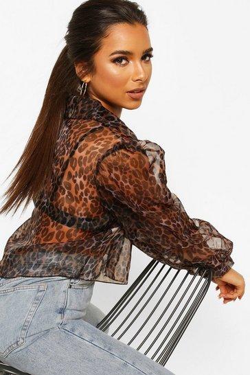 Brown Petite Leopard Organza Cropped Shirt