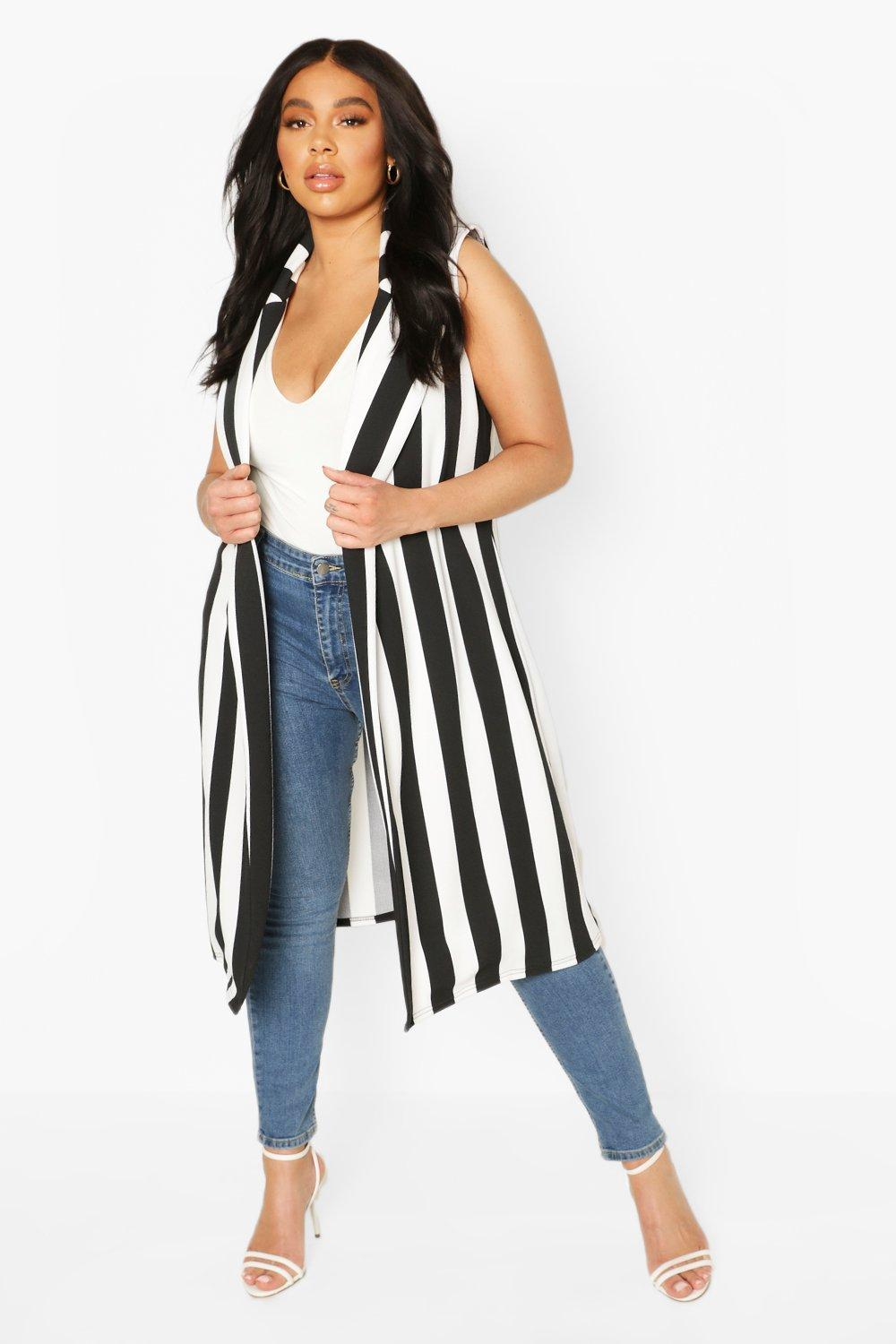boohoo Womens Plus Stripe Sleevless Duster - Black - 20, Black