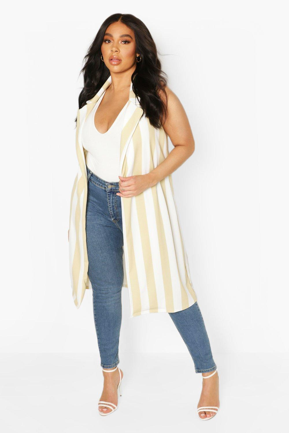 boohoo Womens Plus Stripe Sleevless Duster - Beige - 20, Beige