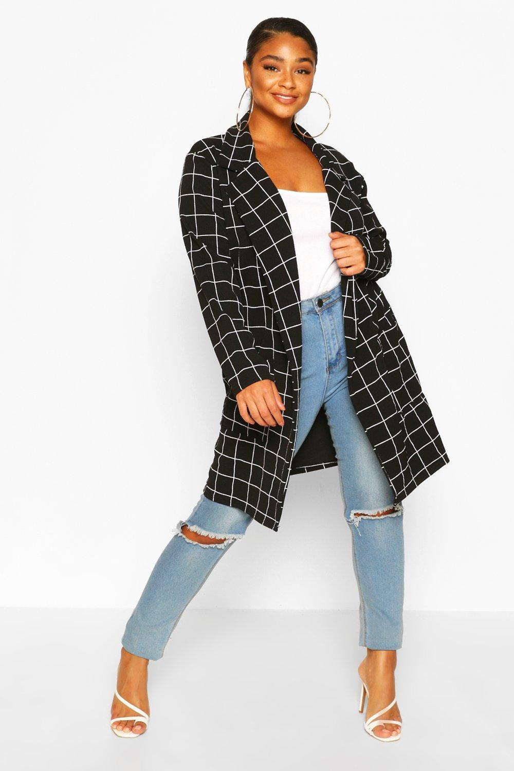 boohoo Womens Plus Grid Check Oversized Duster - Black - 20, Black