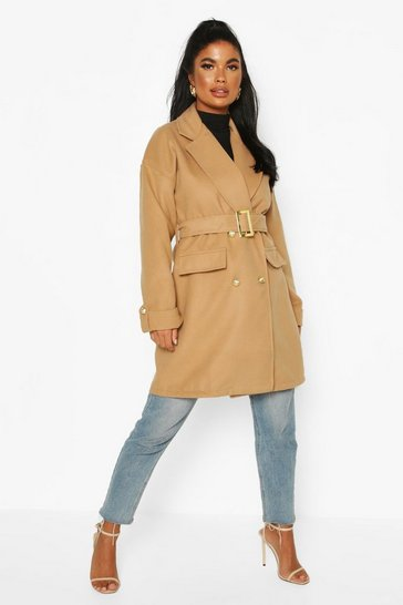 Camel Petite Wool Look Trench Coat