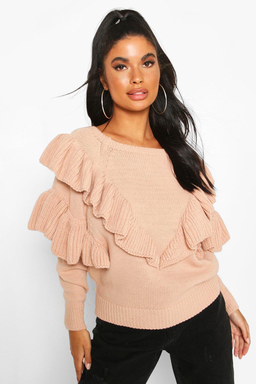 Womens Petite Pullover mit Rüschen - Blassrosa - S, Blassrosa - Boohoo.com