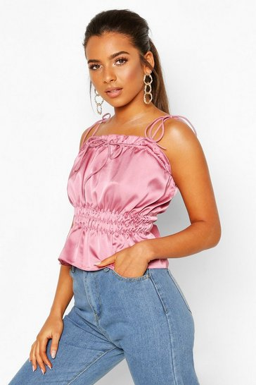 Rose Petite Ruched Waist Satin Top