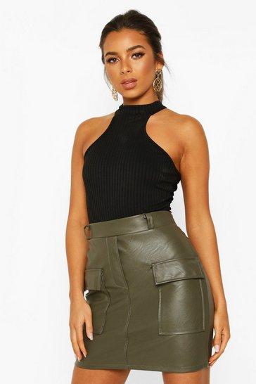 Khaki Petite Pocket Detail Leather Look Mini Skirt