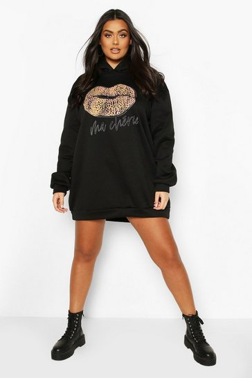 Black Plus Leopard Slogan Lips Hooded Sweat Dress