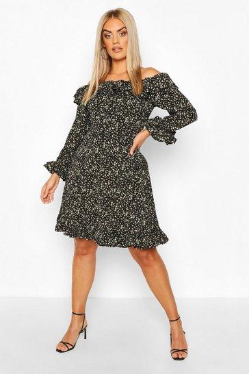 Black Plus Bardot Floral Ruffle Skater Dress