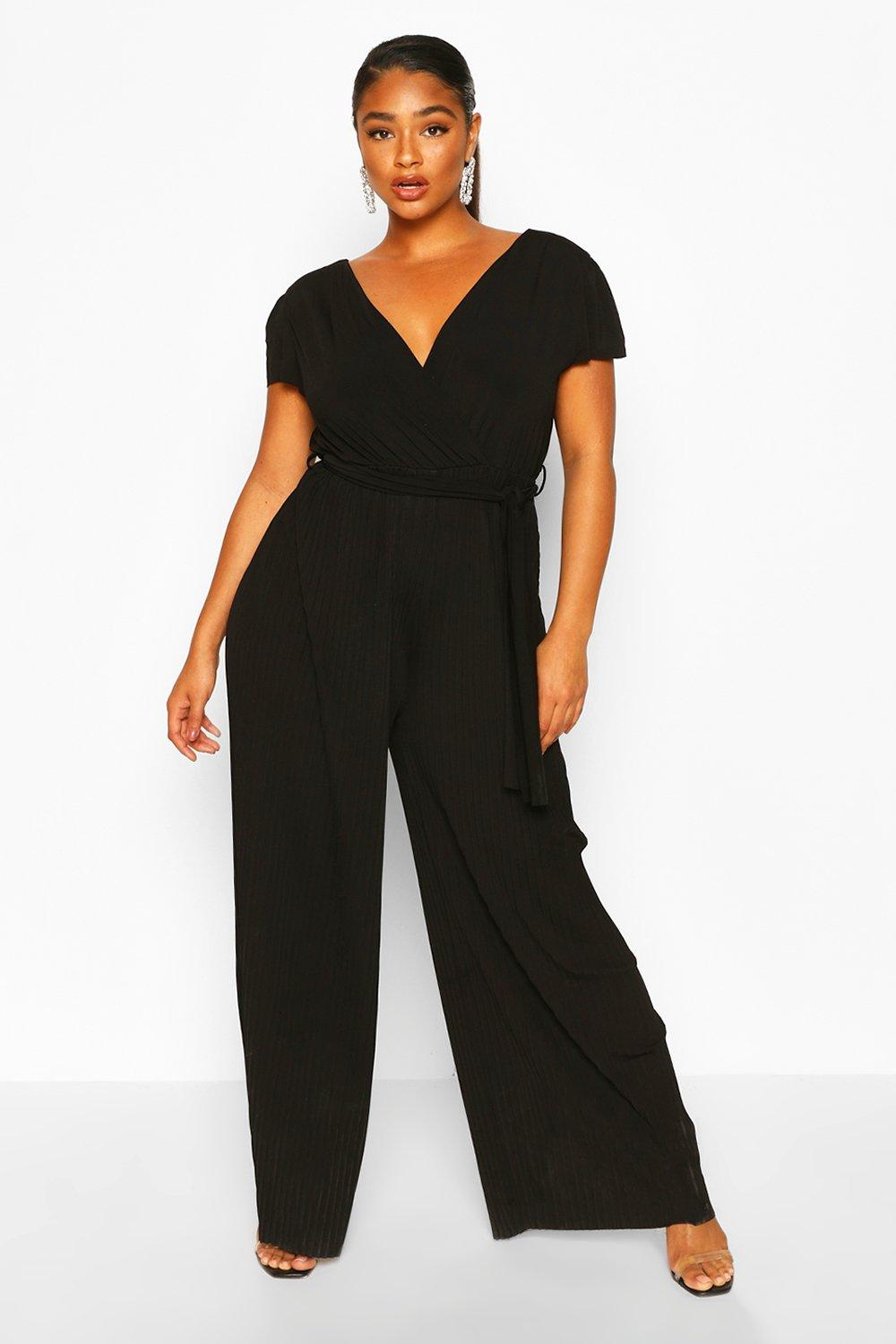 boohoo Womens Plus Wrap Front Pleated Wide Leg Jumpsuit - Black - 20, Black