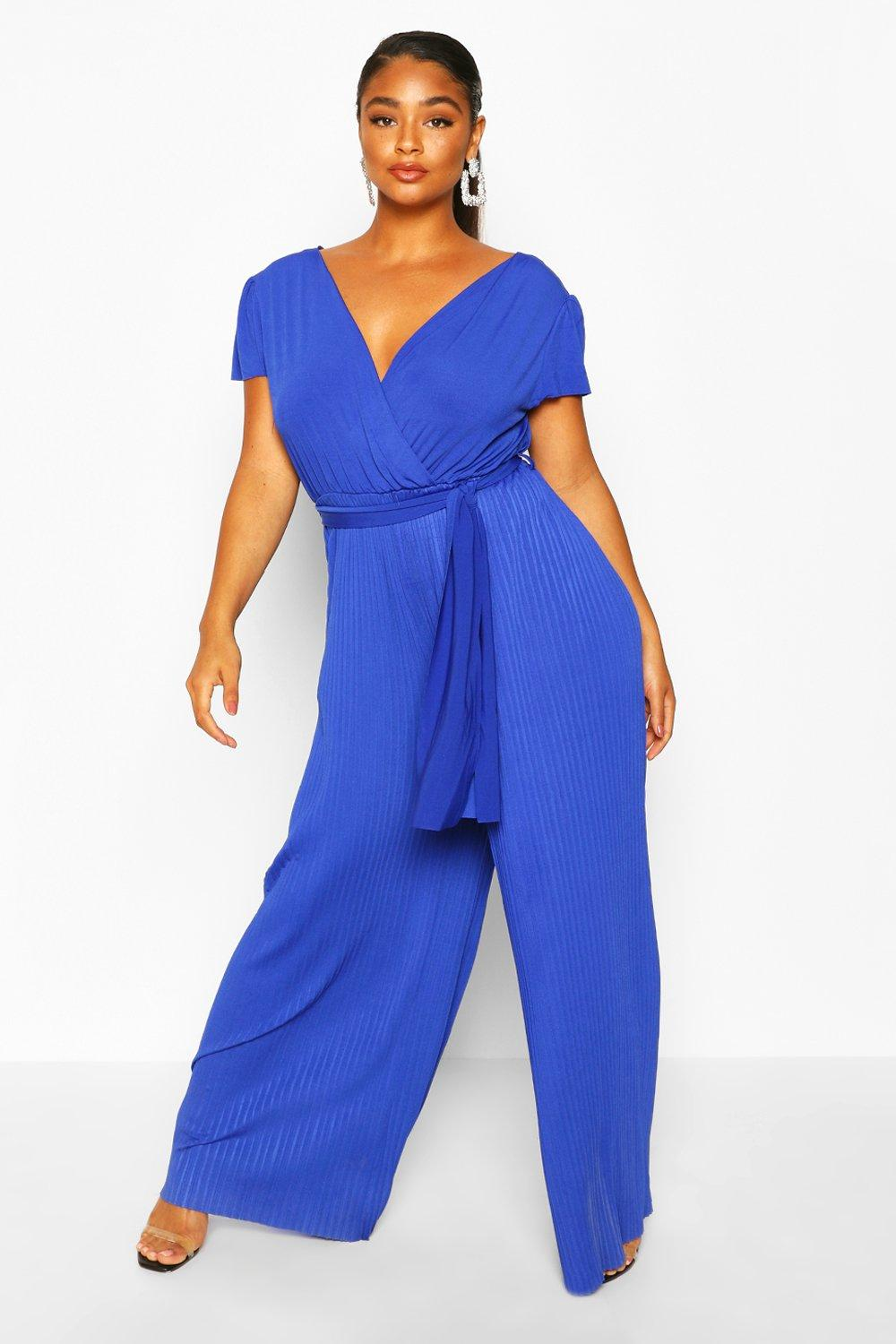 boohoo Womens Plus Wrap Front Pleated Wide Leg Jumpsuit - Blue - 20, Blue