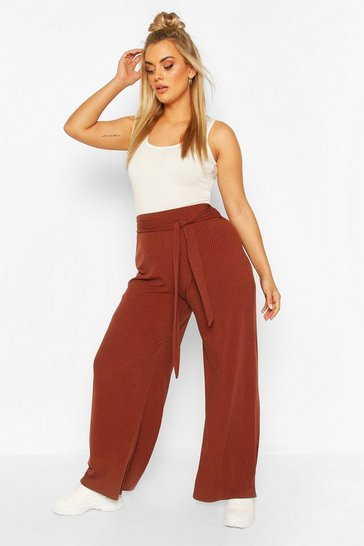 Chocolate Plus Soft Rib Wide Leg Trousers