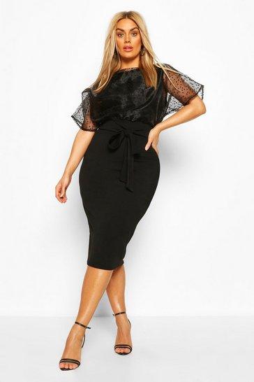 Black Plus Heart Organza Blouson Midi Dress
