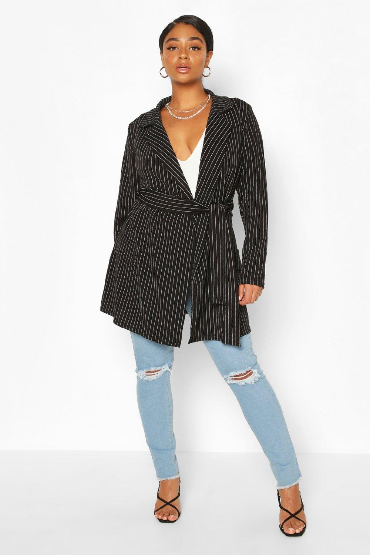 boohoo Womens Plus Pinstripe Belted Tie Blazer - Black - 24, Black