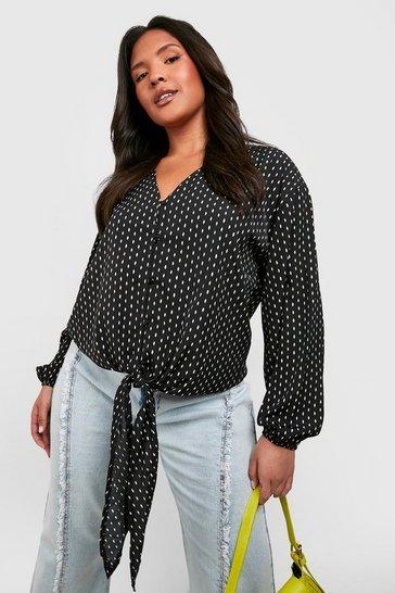Black Plus Diamond Print Tie Front Blouse