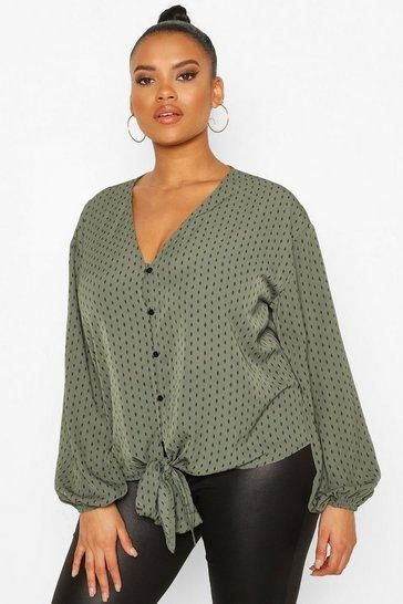 Khaki Plus Diamond Print Tie Front Blouse