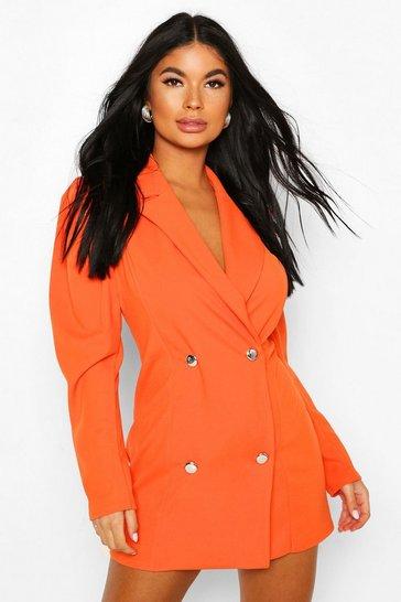 Orange Petite Volume Sleeve Scuba Blazer Dress