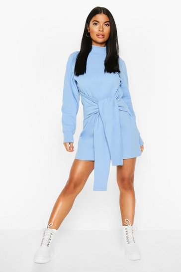 Blue Petite Tie Front Sweatshirt Dress