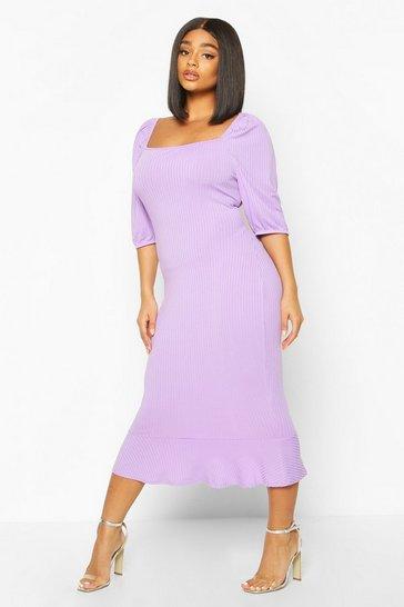 Lilac Plus Jumbo Rib Puff Sleeve Peplum Hem Midi Dress