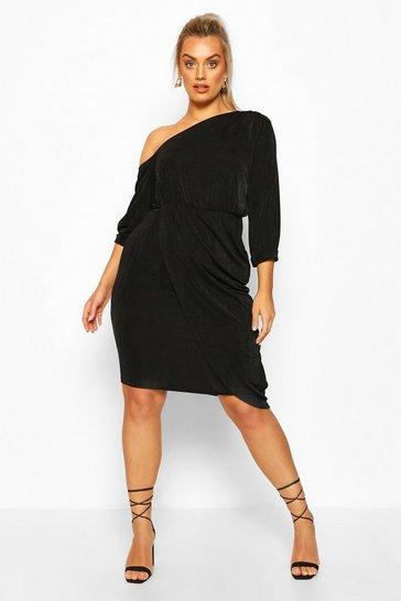 Black Plus Textured Slinky Neck Midi Dress