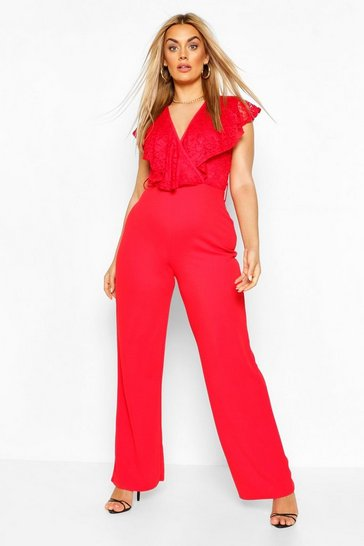 Red Plus Lace Ruffle Wrap Wide Leg Belted Jumpsuit