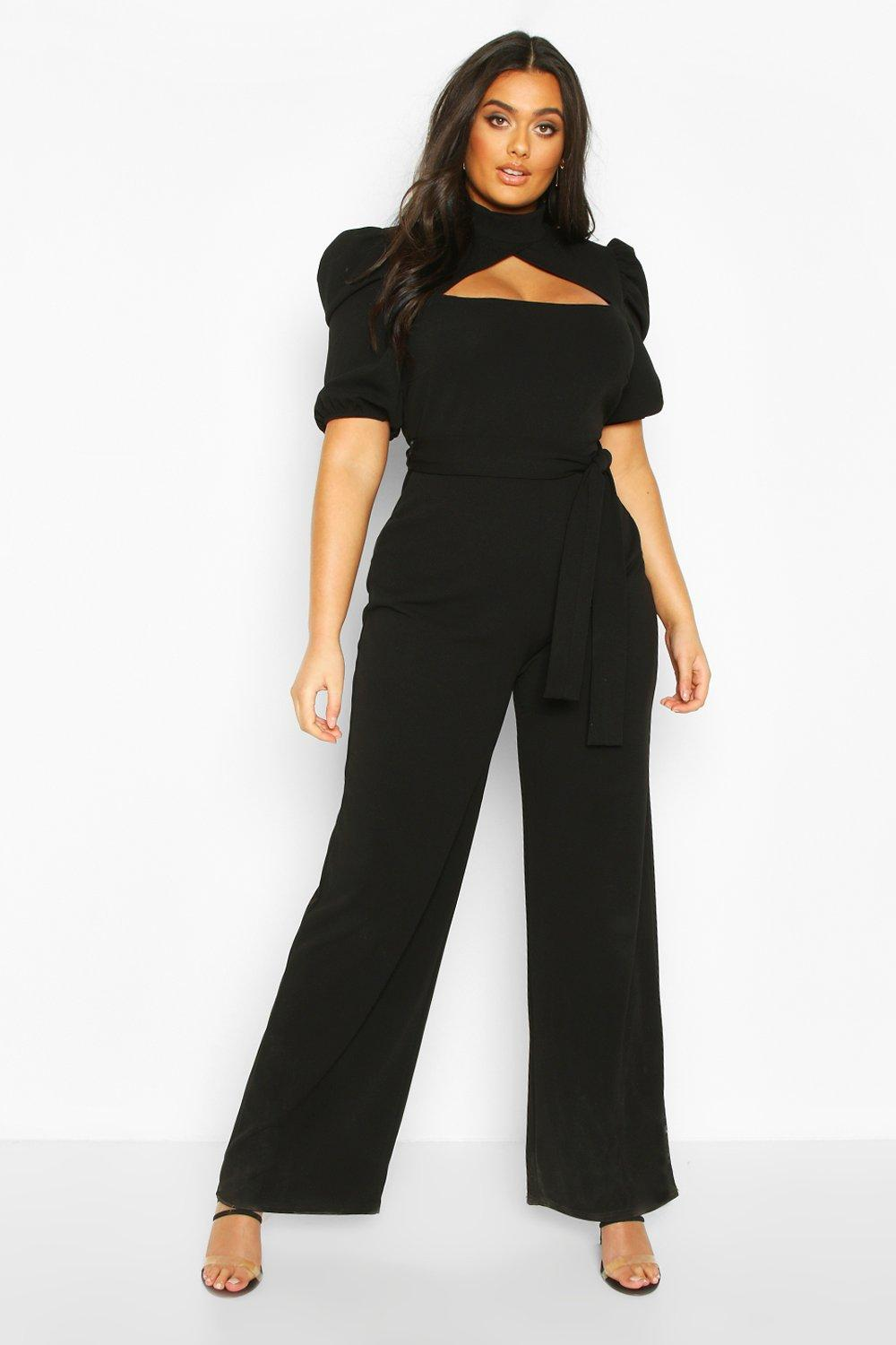 boohoo Womens Plus Choker Cut Out Puff Sleeve Jumpsuit - Black - 16, Black