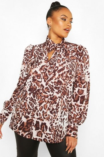 Brown Plus Leopard Snake Pussybow Blouse