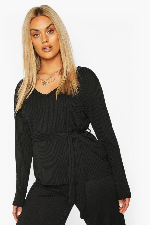 Womens Plus Jumbo Rib V-NeckT-Shirt - black - 42, Black - Boohoo.com