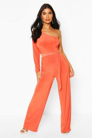 Orange Petite One Shoulder Tie Waist Jumpsuit