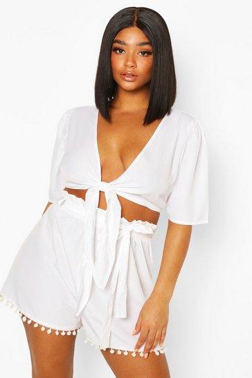 White Plus Tie Front Tassel Hem Beach Co-ord