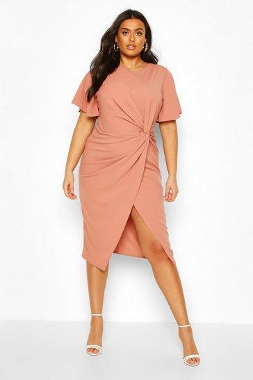 Rose Plus Angel Sleeve Twist Detail Midi Dress