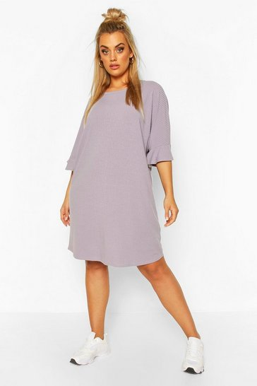 Grey Plus Ruffle Sleeve Soft Rib T-Shirt Dress