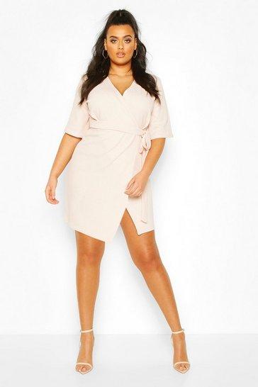 Blush Plus Wrap Self Belted Dress