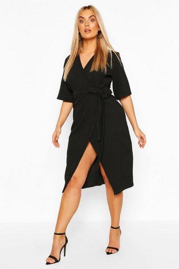Black Plus Wrap Self Belted Midi Dress