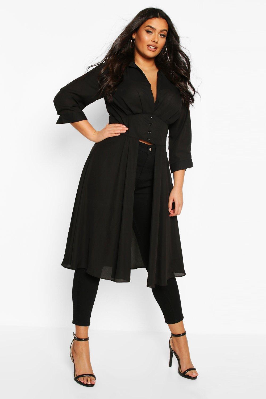 Womens Plus Plunge Woven Maxi Shirt - black - 42, Black - Boohoo.com
