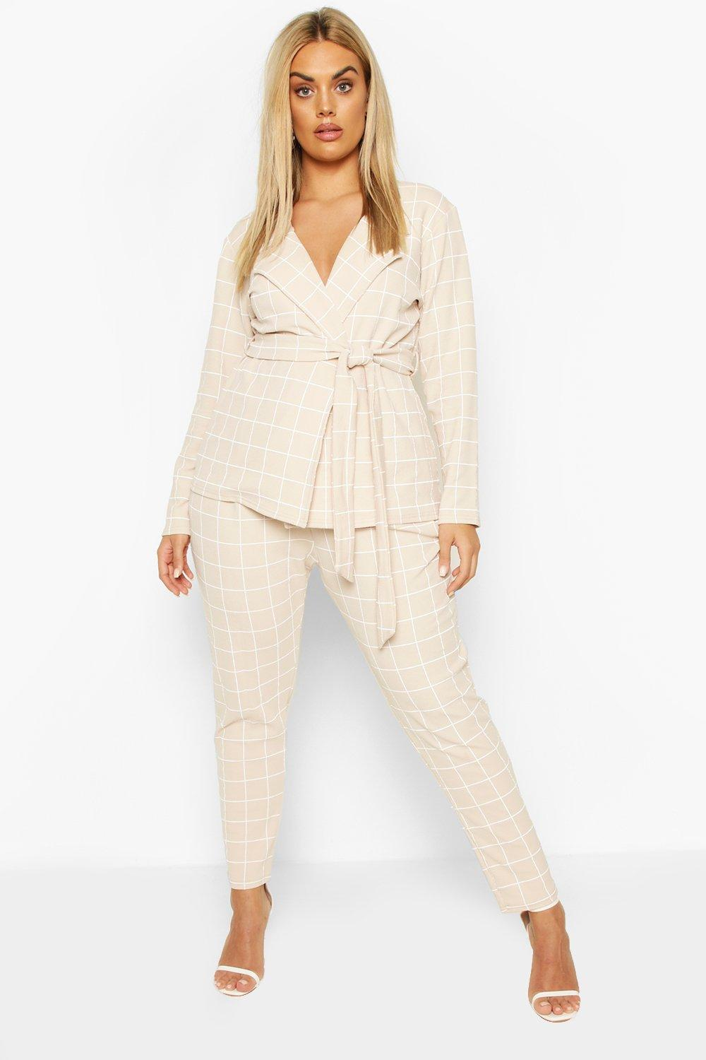 boohoo Womens Plus Grid Check Blazer & Trouser Co-Ord - Beige - 18, Beige