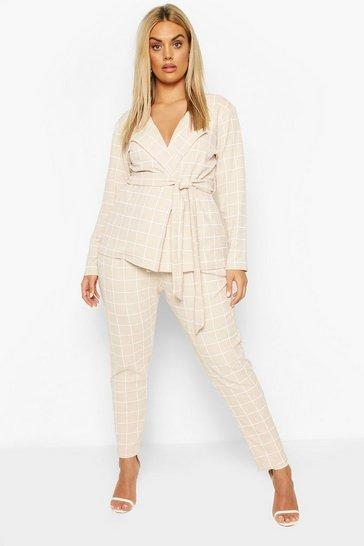 Stone Plus Grid Check Blazer & Trouser Co-ord