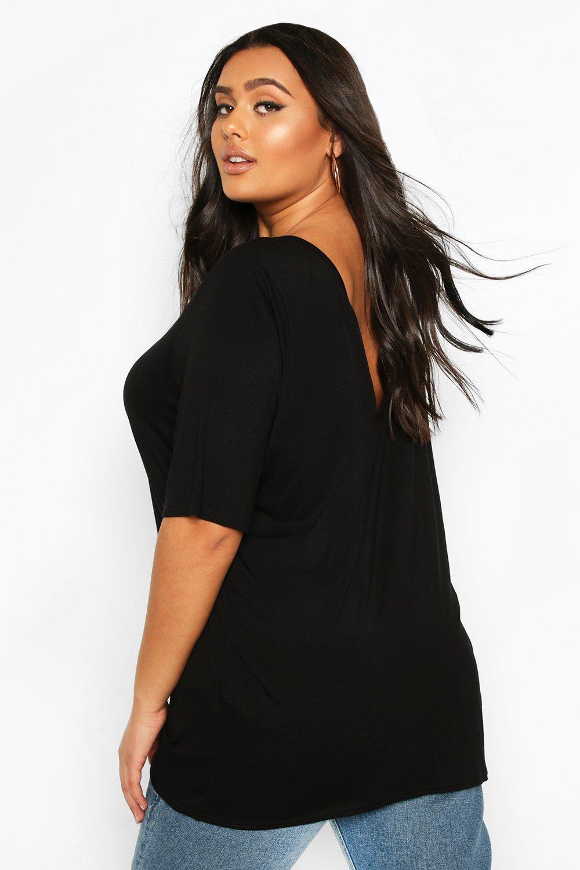 Womens Plus Basic V Back Oversized T-shirt - black - 42, Black - Boohoo.com