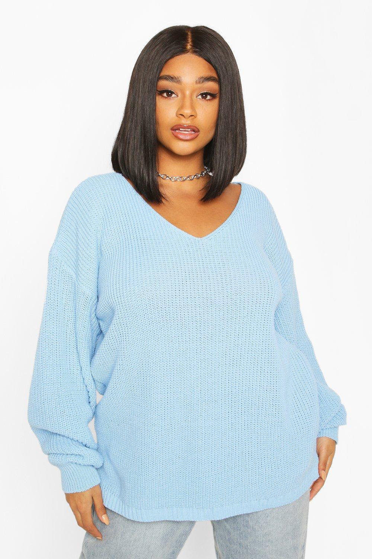 Womens Plus Oversized V-neck Jumper - pastel blue - 42, Pastel Blue - Boohoo.com