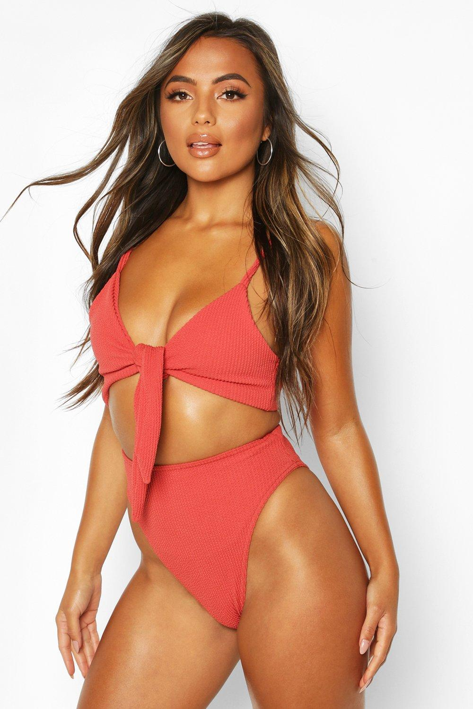 boohoo Womens Petite Tie Front Crinkle High Waist Bikini - Orange - 10, Orange