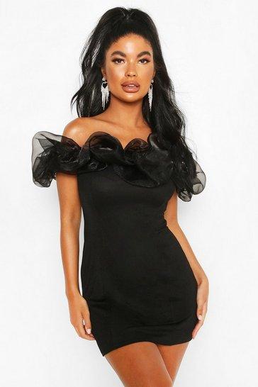 Black Petite Organza Off Shoulder Bodycon Dress