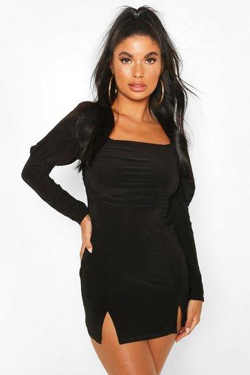 Black Petite Volume Sleeve Square Neck Mini Dress