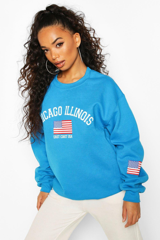 "Womens Petite Oversized-Pullover mit ""Chicago Illinois""-Motiv - Blau - S, Blau - Boohoo.com"